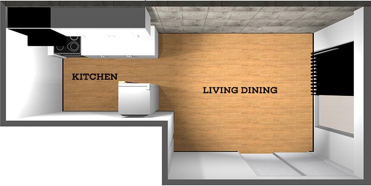 壁付けキッチンのある縦長リビング
