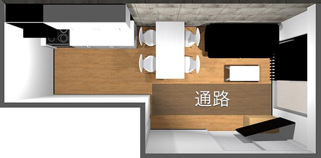 縦長リビングの家具レイアウト例