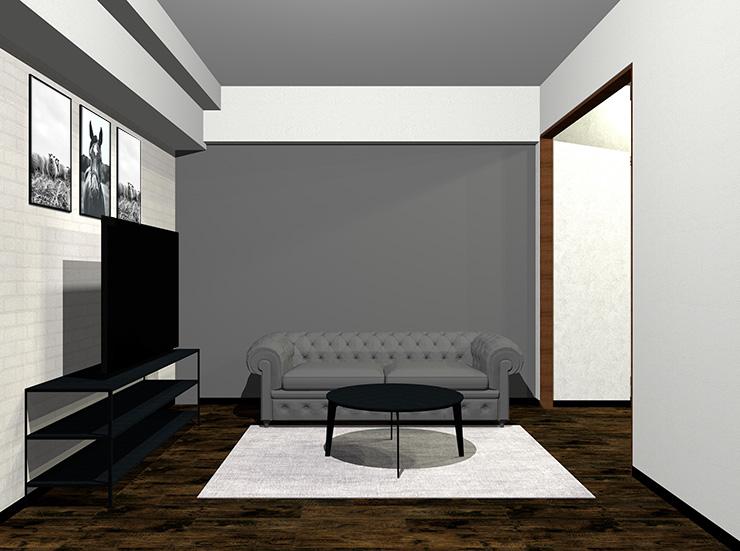 ソファと壁が暗いグレー