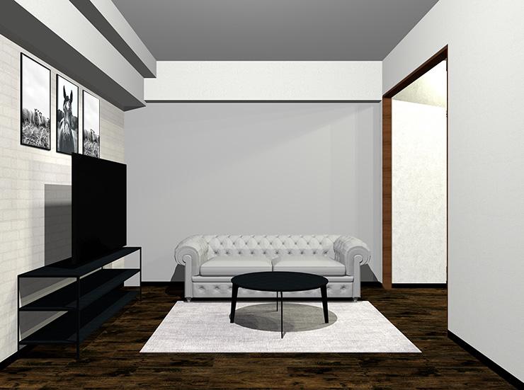 ソファと壁が明るいグレー