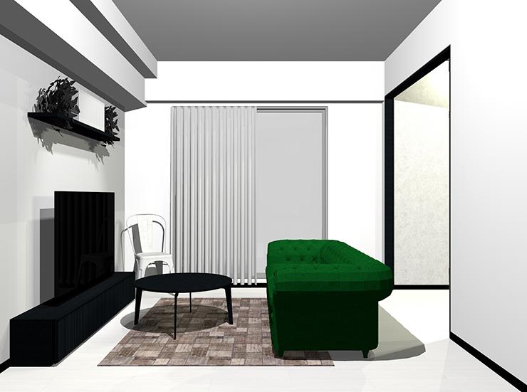 ホワイトの床と黒の木目家具