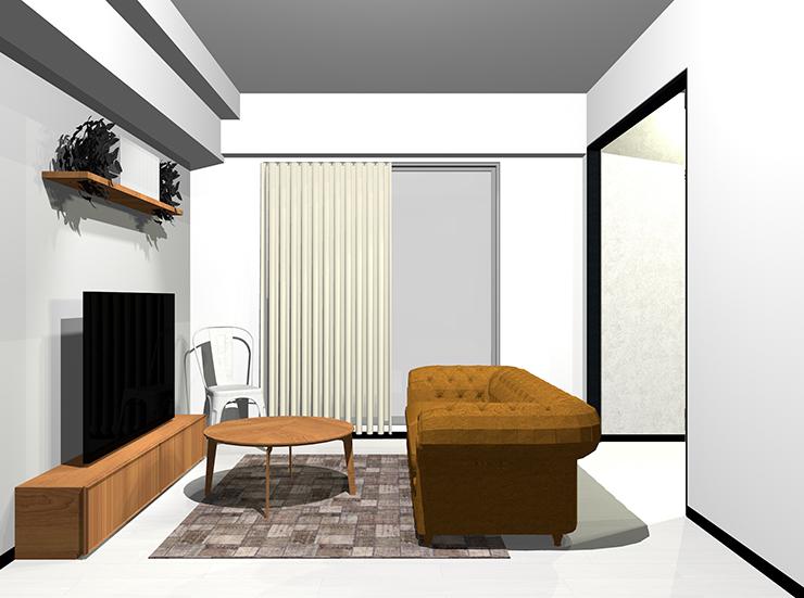 ホワイトの床と茶色の木目家具