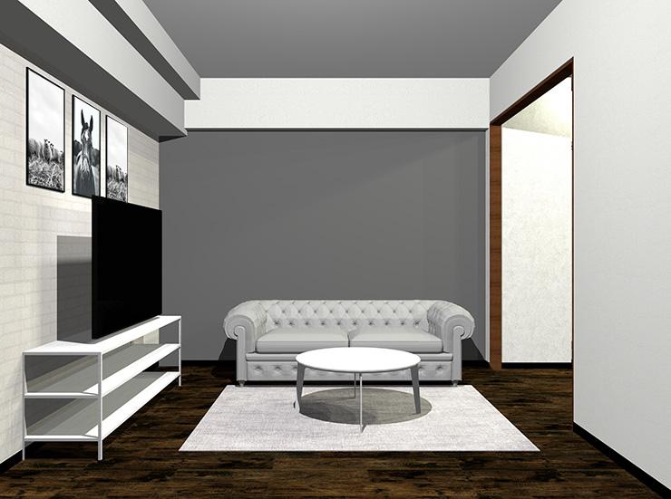 明るいグレーのソファとホワイトの家具