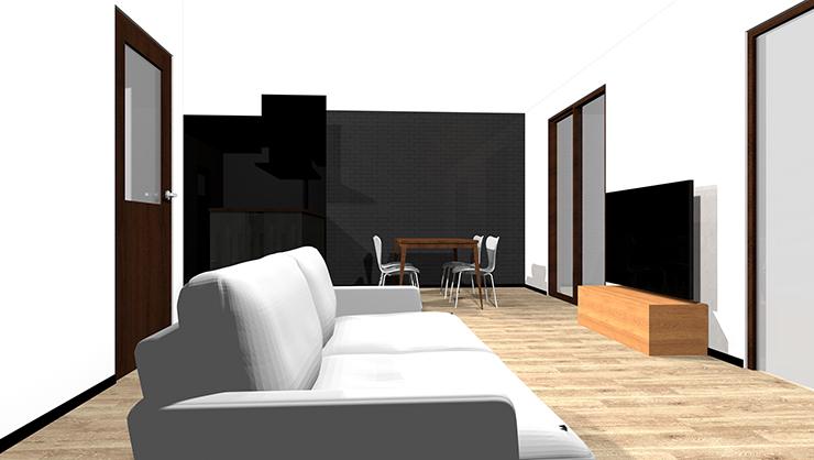 2つの窓の間の壁にテレビ