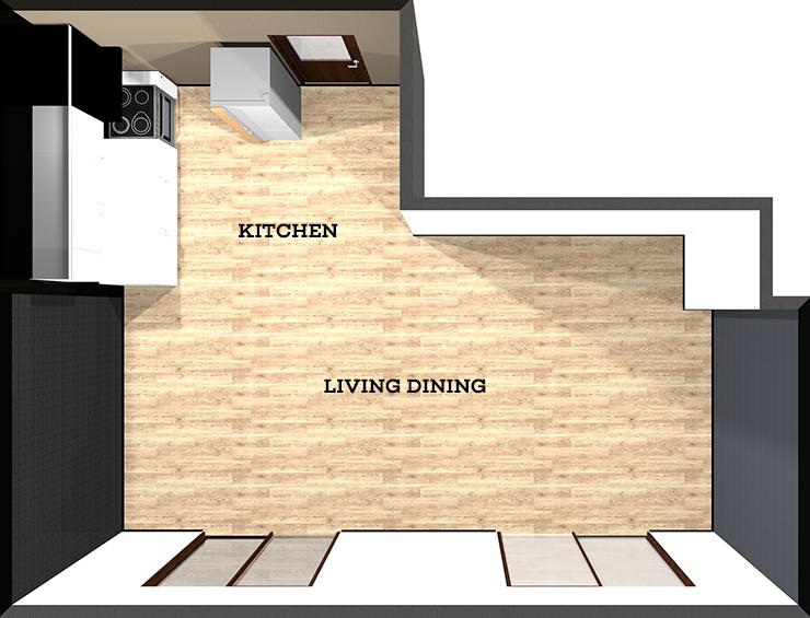 壁付けキッチンのある横長リビング