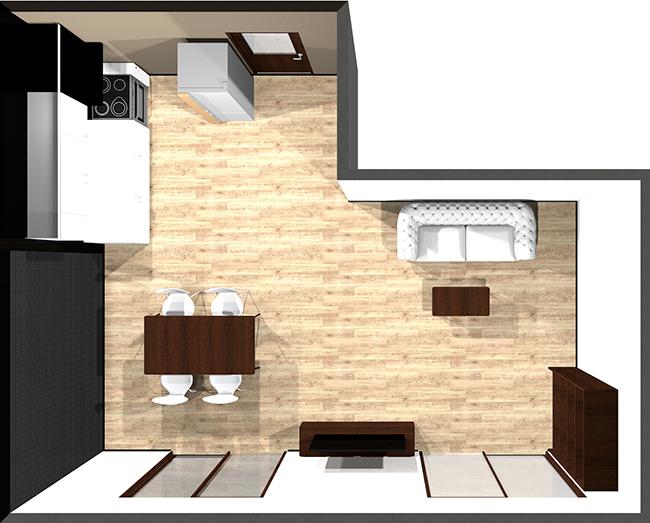 横長リビングの家具レイアウト例