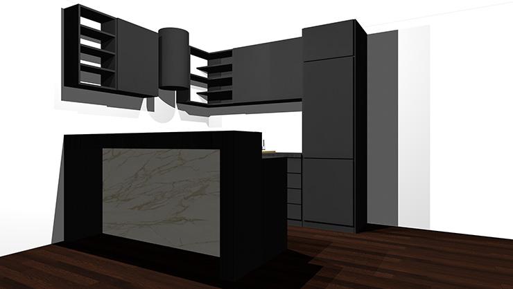 黒のキッチンとダーク系の床