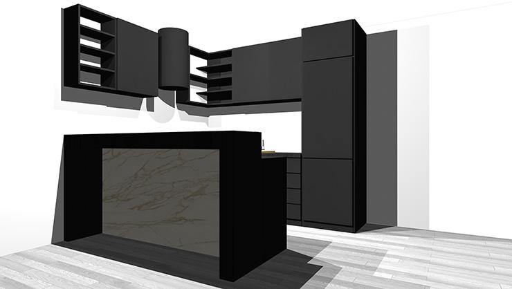 黒のキッチンとグレーの床