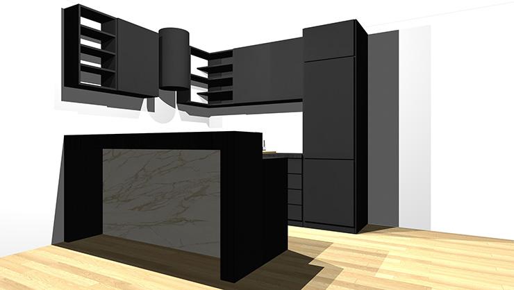 黒のキッチンとライト系の床