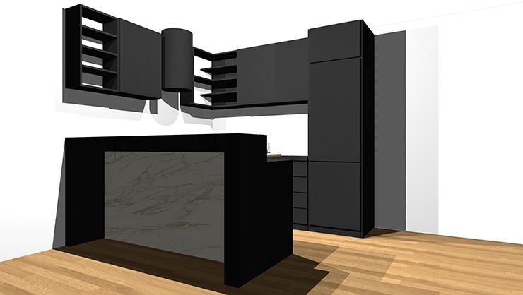 黒のキッチンとミディアムブラウンの床