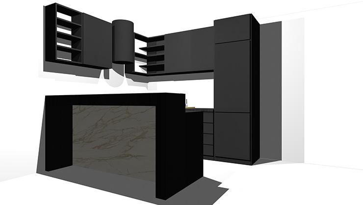 黒のキッチン