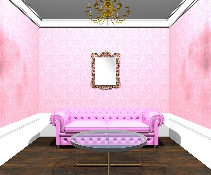 ピンクのモダンクラシックインテリア