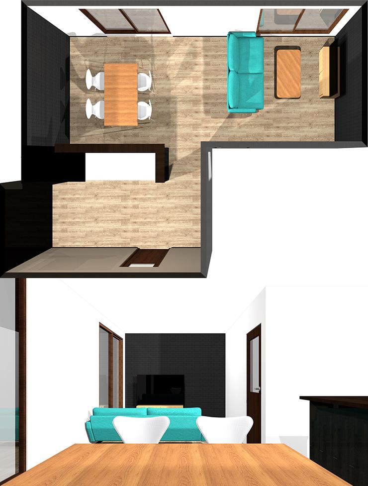 短い方の壁にソファとテレビパース