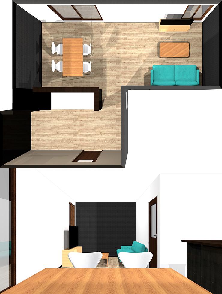 長い方の壁にソファとテレビパース
