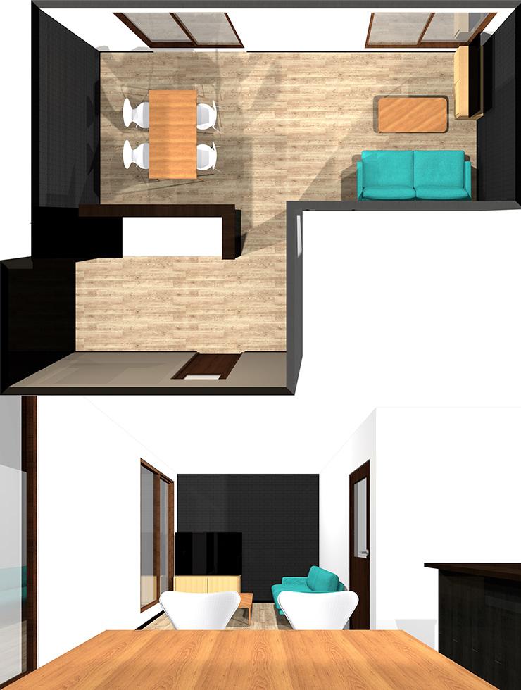 長い方の壁にソファ、短い方の壁にテレビパース