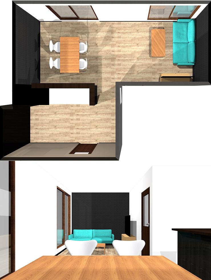 長い方の壁にテレビ、短い方の壁にソファパース