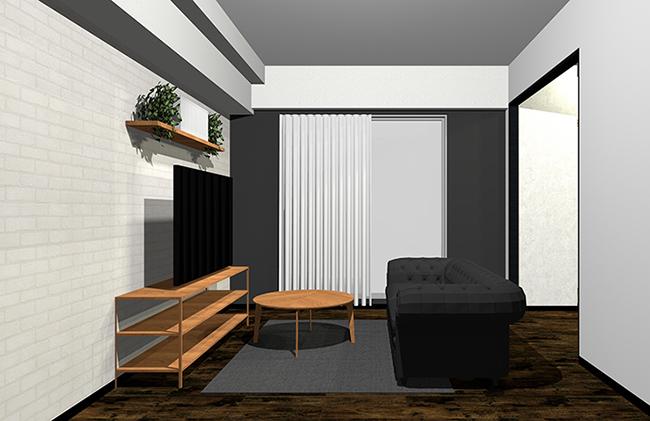 黒寄りのグレーと木目家具のインテリア