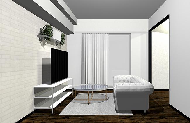白寄りのグレーとホワイト家具、ガラス(透明素材)、ゴールドやシルバーの金属を混ぜたインテリア