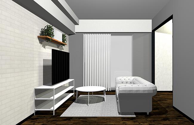 グレーとホワイト家具のインテリア