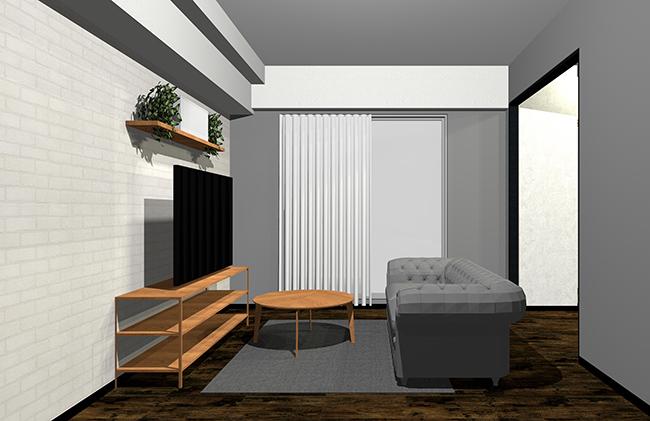 グレーと木目家具のインテリア