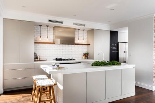 グレーキッチンインテリア-4種類の床色×4つのスタイル別実例65選