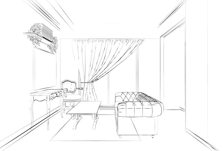 曲線的なアンティーク家具のあるリビングの白黒スケッチ