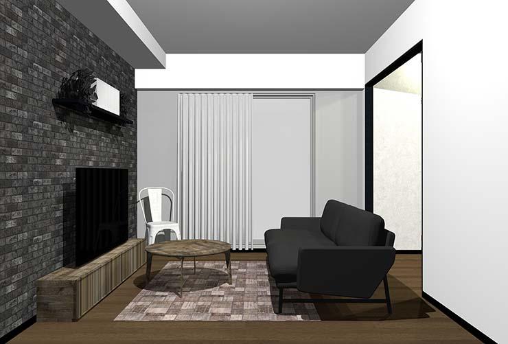 黒のアクセントタイル壁の直線的なデザインの家具があるリビング(ヴィンテージ)