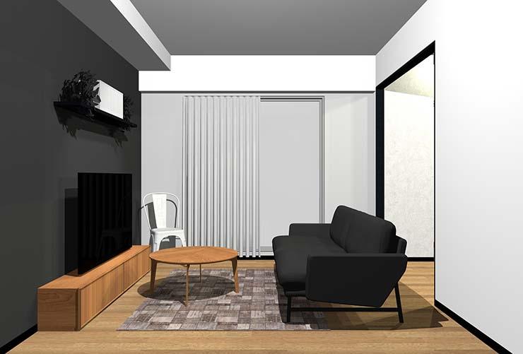 黒のアクセントクロスにした直線的なデザインの家具があるリビング(モダン)