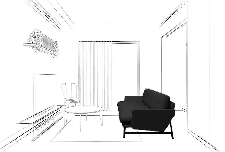 黒っぽいグレーのソファの色だけが決まっているリビング