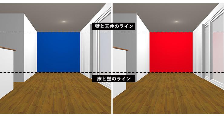 後退色と膨張色の壁紙の壁の位置