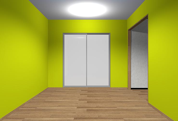 鮮やかな黄緑の壁紙のリビング
