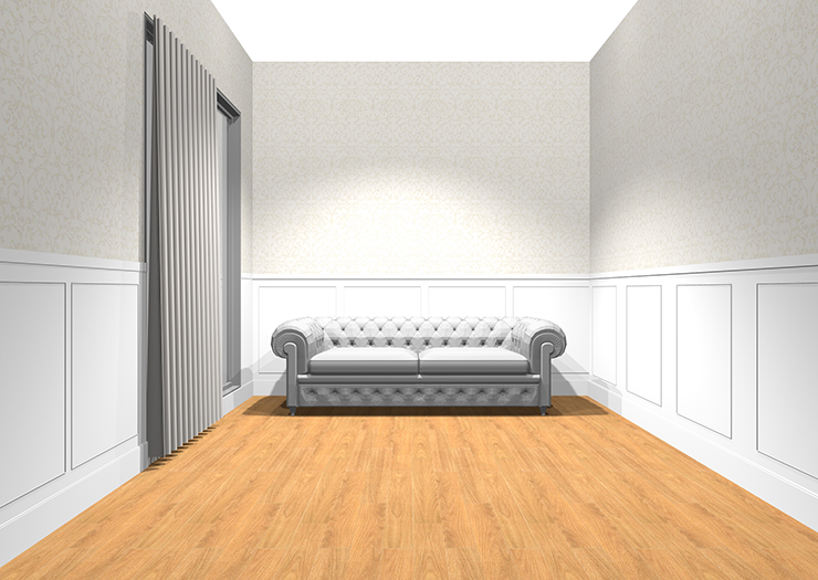 腰壁のある部屋にアンティークソファ