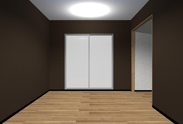 暗い茶色の壁紙のリビング