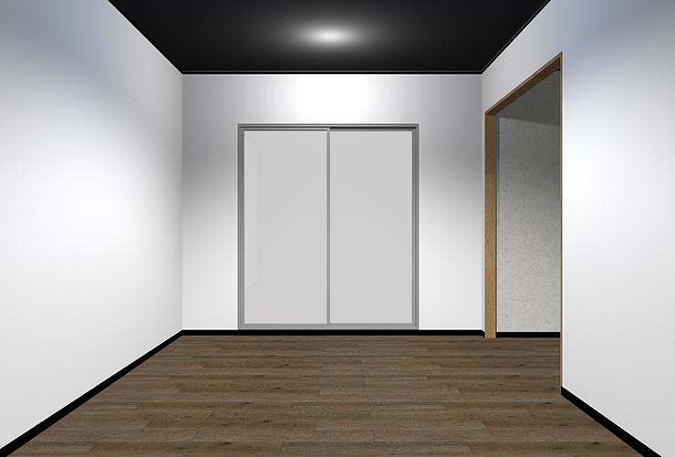 暗い床・明るい壁・暗い天井