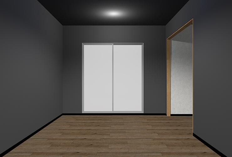 暗い床・暗い壁・暗い天井