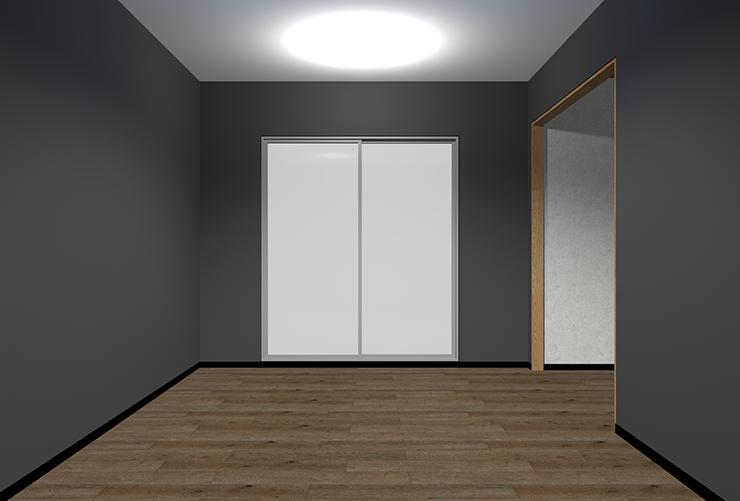 暗い床・暗い壁・明るい天井