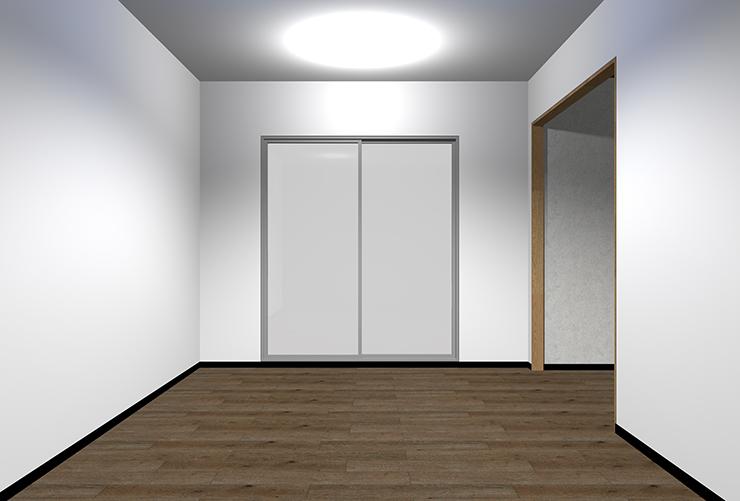 暗い床・明るい壁・明るい天井