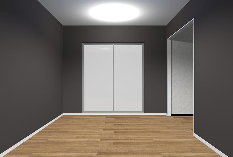 暗いグレーの壁紙のリビング