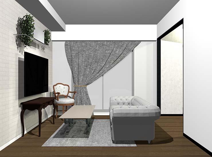 曲線的なアンティーク家具のあるリビング