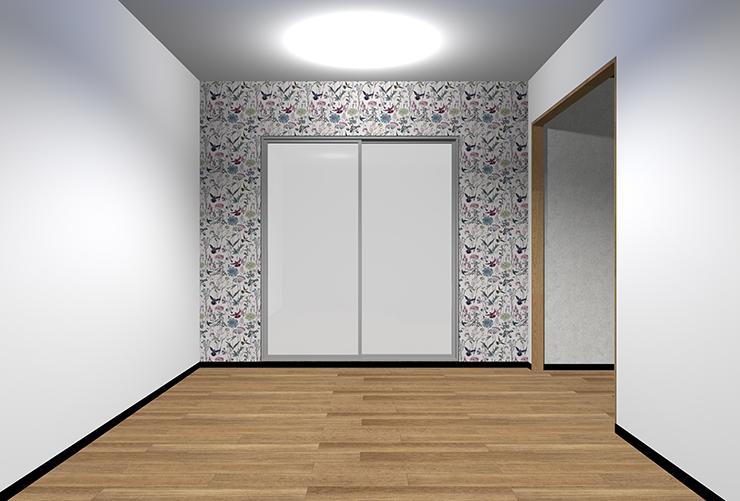 細かくはっきりとした柄の壁紙を短い壁