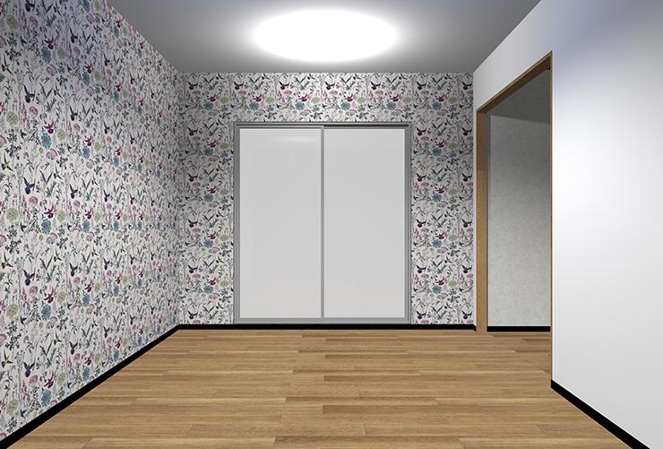 細かくはっきりとした柄の壁紙を2面
