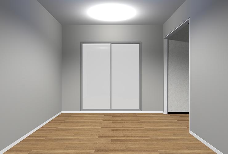 明るいグレーの壁紙のリビング