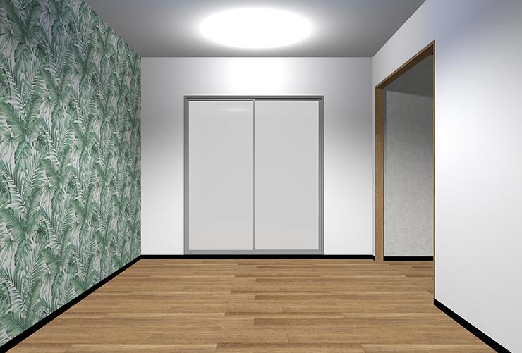 大きなパターン柄の壁紙を長い壁に
