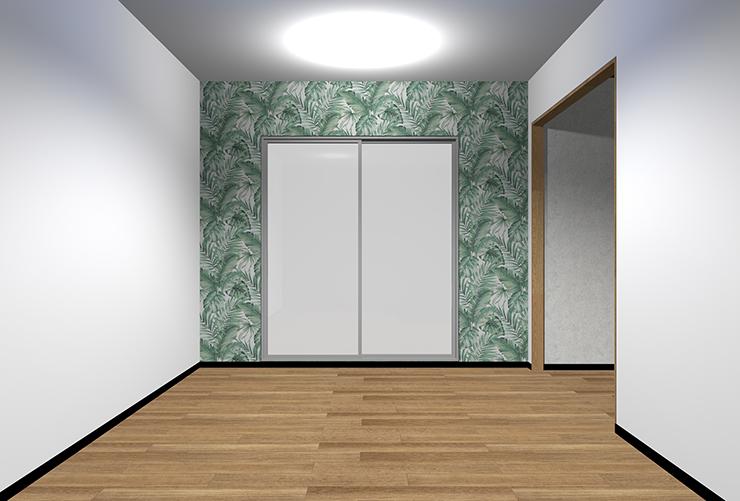 大きなパターン柄の壁紙を短い壁に