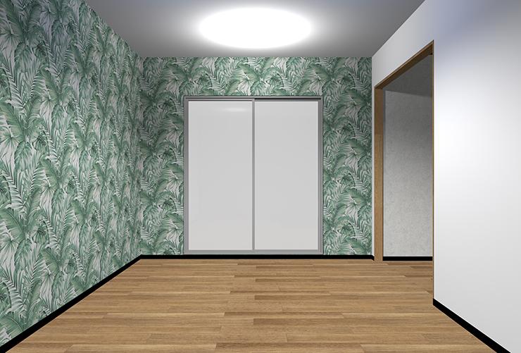 大きなパターン柄の壁紙を2面