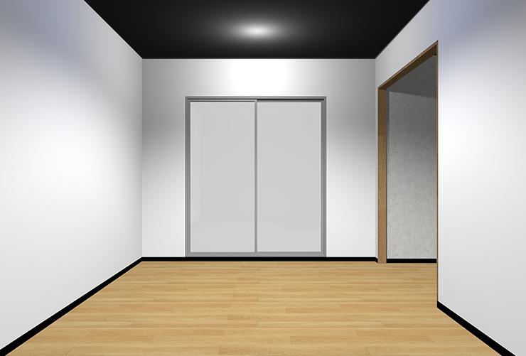 明るい床・明るい壁・暗い天井