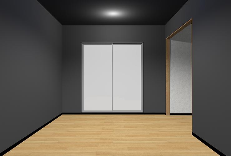 明るい床・暗い壁・暗い天井