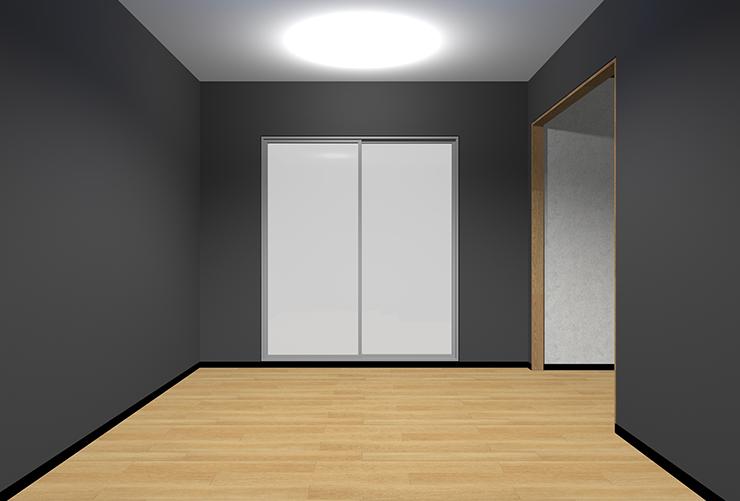 明るい床・暗い壁・明るい天井
