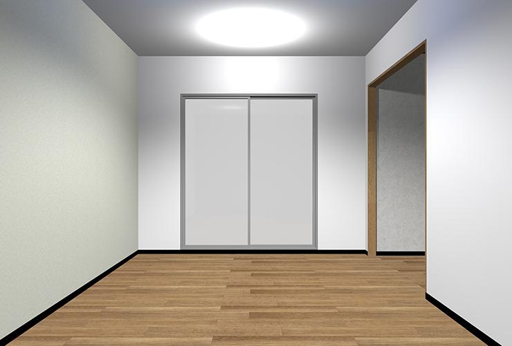 細かくて模様が薄い柄の壁紙を長い壁