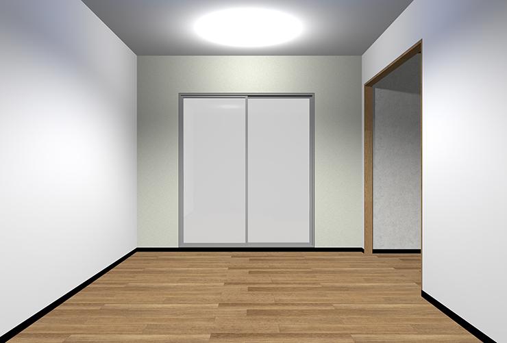 細かくて模様が薄い柄の壁紙を短い壁